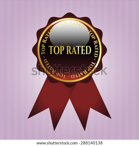 Top Rated shiny red ribbon - stock vector