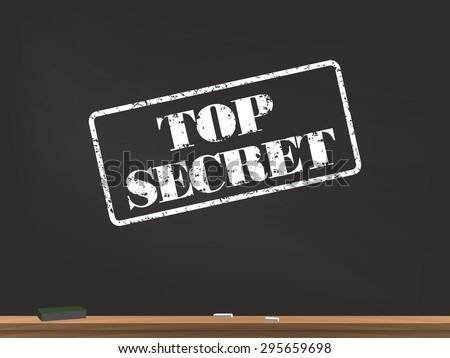 Top Secret Chalkboard Illustration - stock vector