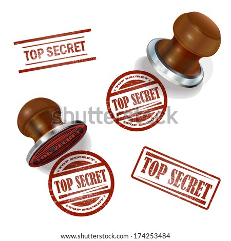 Top secret  3d stamp  - stock vector