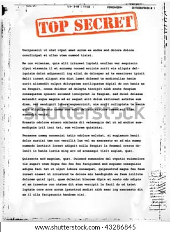 top secret document template - stock vector