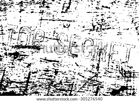 Top Secret inscription with ink marked paper in background. May be used separately or as a whole. - stock vector