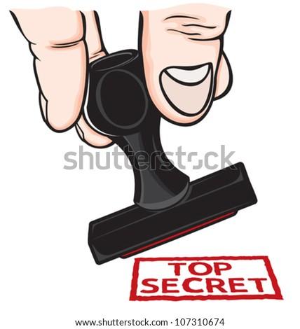 Top Secret Rubber Stamp - stock vector