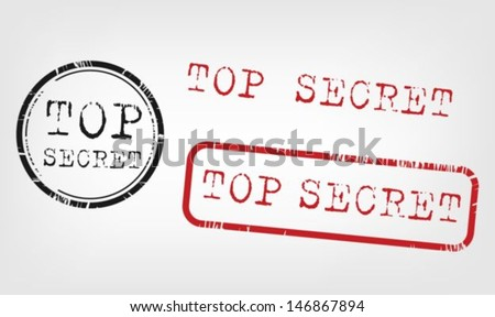 Top secret stamps collection - stock vector