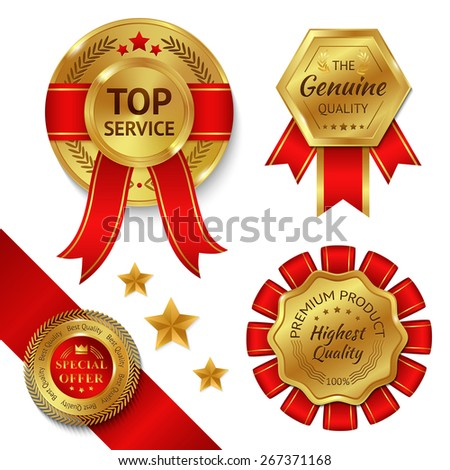 Top service awards premium quality ribbons and gold medals set isolated vector illustration - stock vector