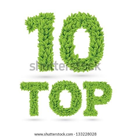 Top ten word made of green vector leafs - stock vector