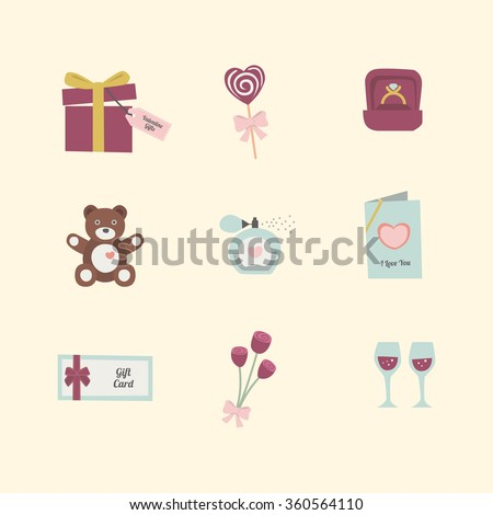 Top Valentine gift icon flat design pastel vector