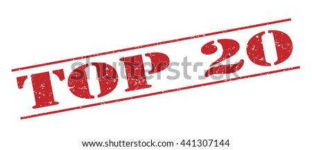 top 20 vector stamp on white background. - stock vector