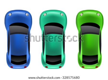 Top View , Aerial View of 3 Vehicles - stock vector