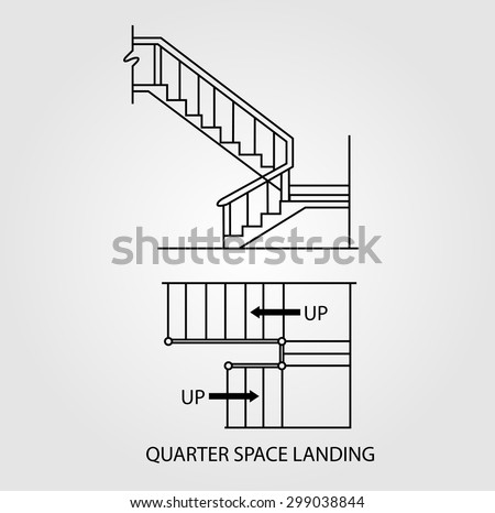 Stair landing stock images royalty free images vectors for Quarter landing staircase