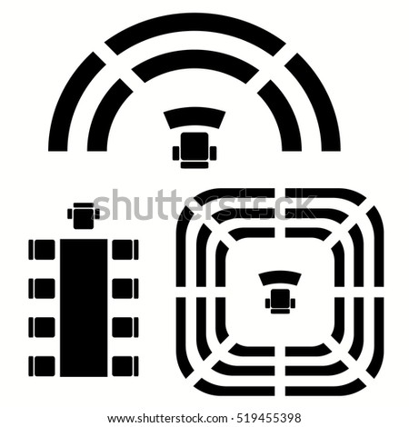Top view, business, education, government furniture symbols used in architecture plans and icons set, graphic design elements