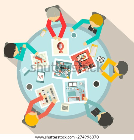 Top View Business Meeting Around Circle Table Vector - stock vector