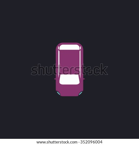 top view car Color vector icon on dark background - stock vector