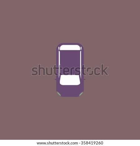 top view car Retro dim color vector flat icon - stock vector