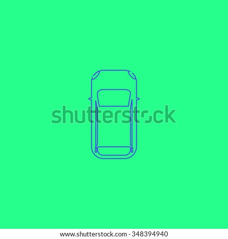 top view car Simple outline vector icon on green background  - stock vector