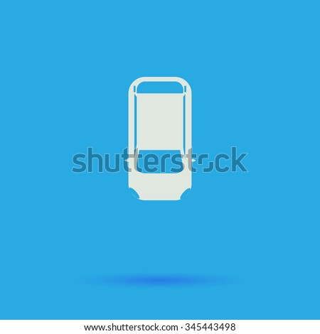 top view car White flat vector simple icon on blue background with shadow  - stock vector