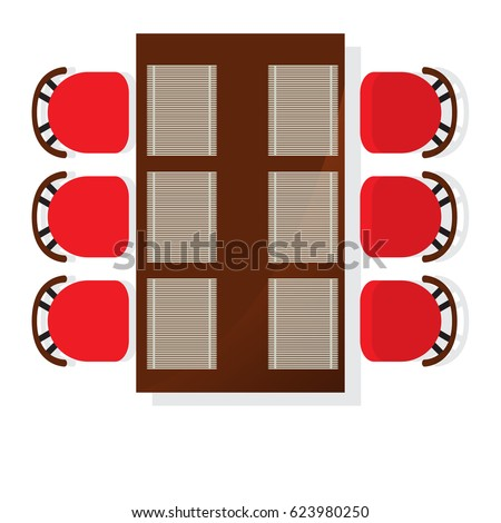 Top View Dining Room Interior Square Stock Vector 623980250