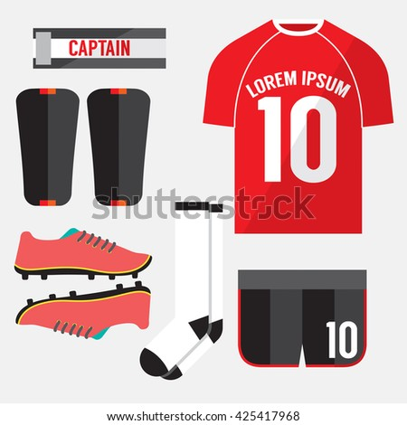 Top View Football Player Gears Vector Illustration - stock vector