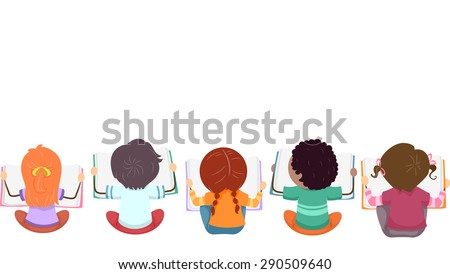 Top View Illustration of Kids Busy with Reading Books - stock vector