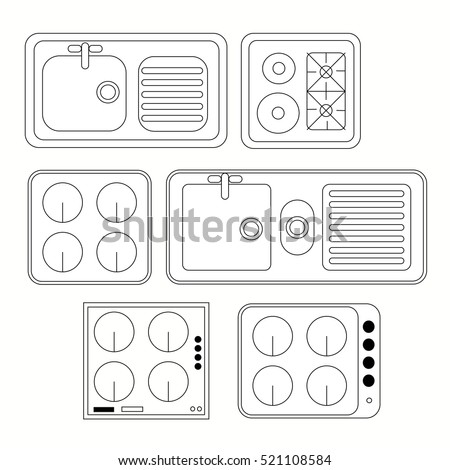 Top View Kitchen Elements Furniture Symbols Stock Vector