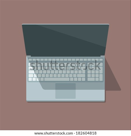 Top view laptop illustration in flat style. Scalable vector. - stock vector