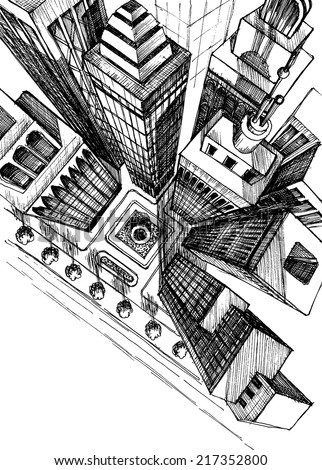 Top view of a city skyscrapers drawing, aerial view sketch - stock vector