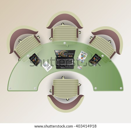 Top view of a conference room. Half round glass table, four chairs. Laptop and tablet computer with office tools in an office interior. - stock vector