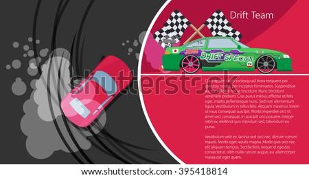 Top view of a drifting car. Drift banner for web. Drift team. Vector illustration. - stock vector