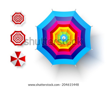 Top view of beach umbrella on white background.  Vector illustration - stock vector