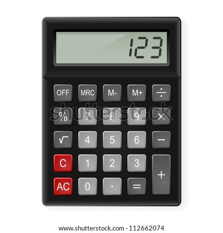 Top View of Black Calculator. Illustration on white - stock vector