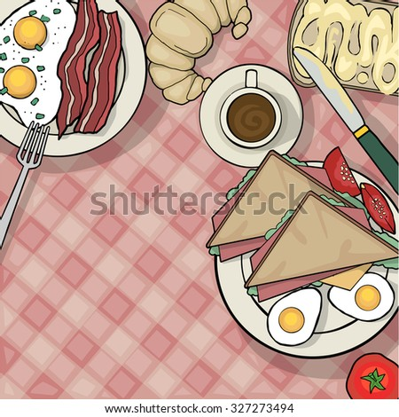 Top view of breakfast table with various foods, and utensils, vector illustration - stock vector