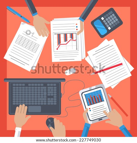 Top view of business workplace with people hand, notebook, digital tablet, documents and office stationery on table - stock vector