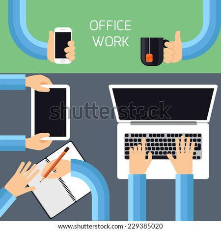 Top view of businessman hands working on laptop and tablet, writing in a diary, holding smartphone and cup of tea - stock vector