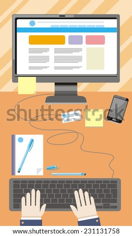 Top view of businessman's workplace with hands typing on keyboard of computer - stock vector
