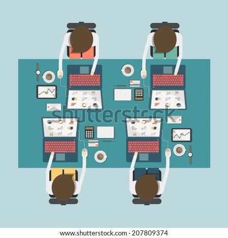 top view of businessman working on the desk on flat style concept vector - stock vector