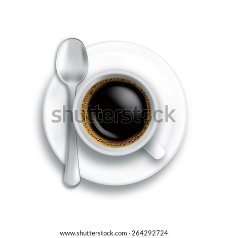 Top view of coffee cup with spoon isolated on white background in vector format - stock vector