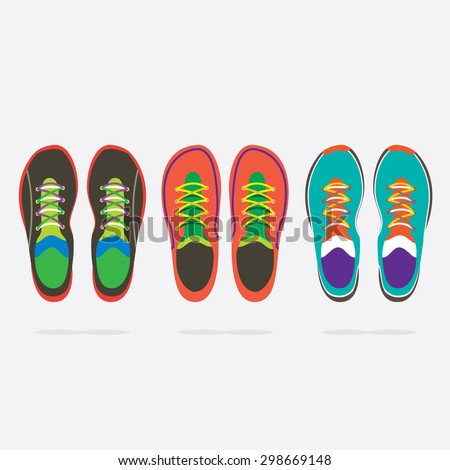 Top View Of Colorful Running Shoes Vector Illustration - stock vector