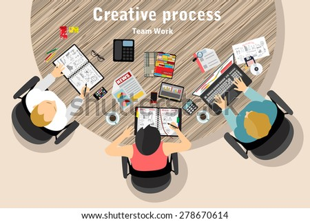 top view of creative team work in flat design style - stock vector
