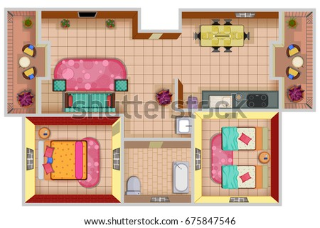 Top View Of Floor Plan Interior Design Layout For House With Furniture And Fixture Vector