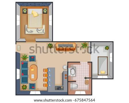 Top View Floor Plan Interior Design Stock Vector