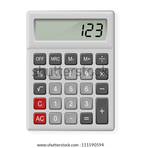 Top View of Gray Calculator. Illustration on white - stock vector