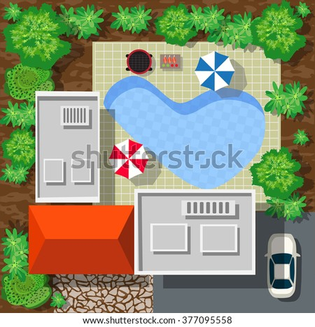 Top view of houses and streets with trees. Vector village and park view from top flat graphic - stock vector