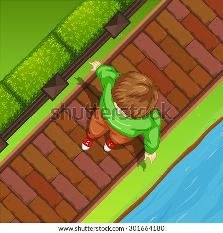 Top view of man walking along the river - stock vector