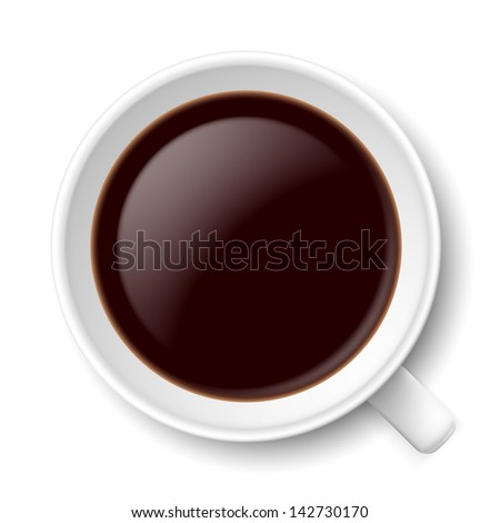 Top view of mug with coffe. Illustration on white background for design. - stock vector