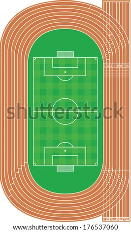 Top view of running track and soccer field on white - stock vector