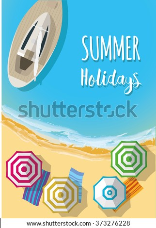 Top view of sea, boat and beach with sand, umbrellas. Flat vector illustration. - stock vector