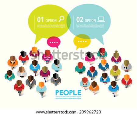 Top view of social people vector design