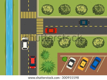 Top view of street full of cars - stock vector