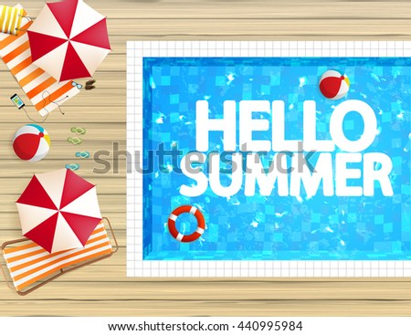 Top view of swimming pool and wooden board with parasols and other beach things. Detailed Vector illustration.  - stock vector