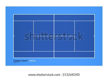 Top view of tennis court - Vector illustration - stock vector