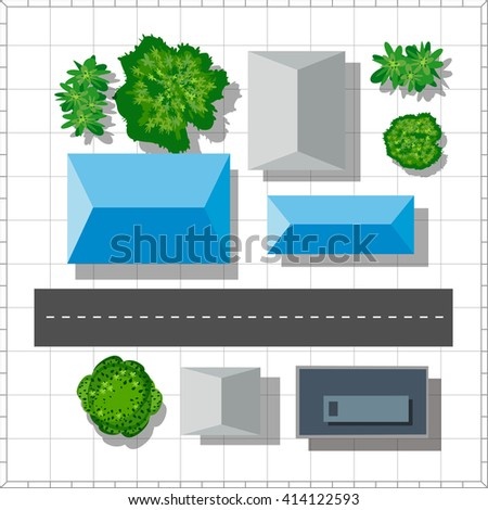 Top view of the city. Urban  street with houses and trees